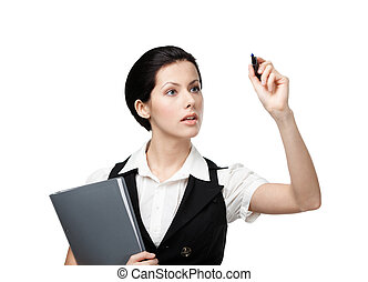 Business woman with folder writing on the invisible screen