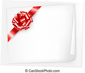 Holiday background with sheet of paper and red bow. Vector