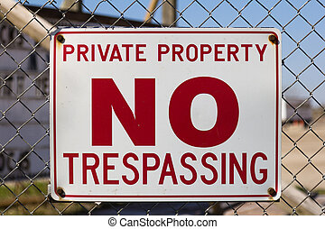 Private Property Sign - A sign warning that the area is...