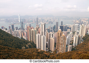 Hong Kong Island and Kowloon, aerial view from Victoria Peak