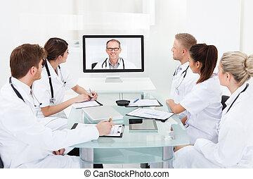 medicos, Asistir, vídeo, conferencia
