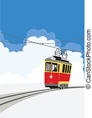 Streetcar - Red tram (city streetcar) on a blue sky...