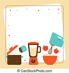 Kitchen design over beige background, vector illustration