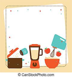 Kitchen design over beige background, vector illustration