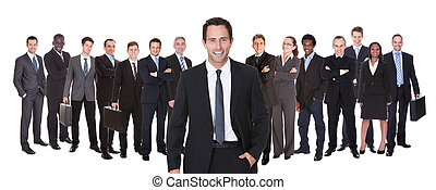 Panoramic Shot Of Confident Businesspeople - Confident...
