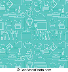 Kitchen design over blue background, vector illustration