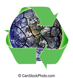 Recycling Symbol Over Fragile Planet Earth