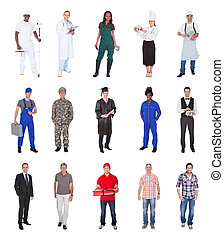 Multiethnic People With Various Occupations - Collage of...