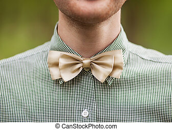 Fashion photo of a man with beard in bowtie