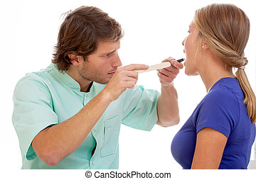 Throat check up - Patient during throat chceck up on...