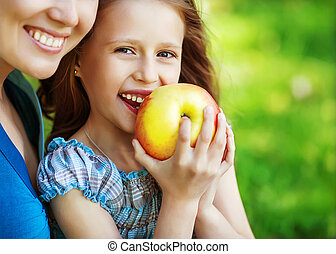 apreciar, comer, primavera, dela, maçã, criança, cedo, mãe,...