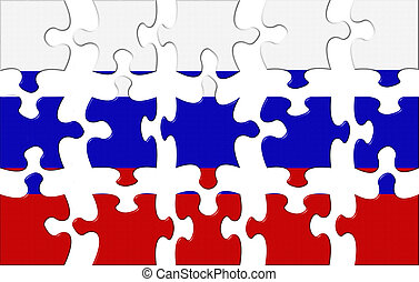 Flag of Russia puzzle isolated on a white bckground