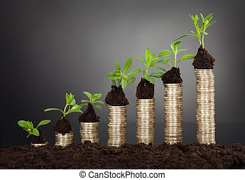 Saplings On Stack Of Coins Representing Growth - Saplings on...