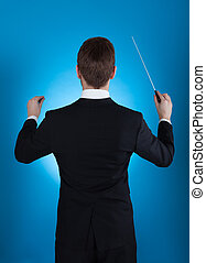 Orchestra Conductor Holding Baton - Rear view of orchestra...