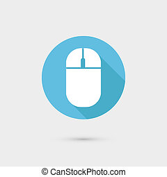 Computer mouse icon Flat design, long shadow