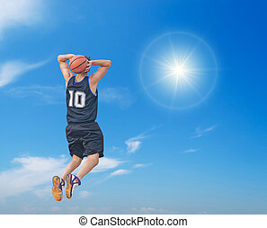 slam dunk in the sun - two-handed slam dunk in the sun