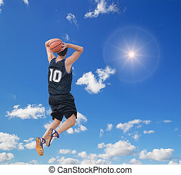 slam dunk in the sky - two-handed jam in the sky