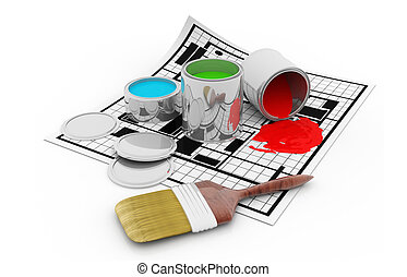Paint buckets with colors and plan blueprint
