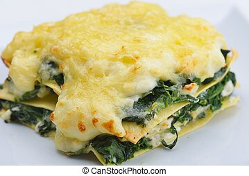 lasagne - Close-up of a traditional lasagna made with minced...
