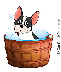 A dog taking a bath - Illustration of a dog taking a bath on...