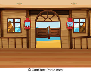 A saloon bar with two lamps - Illustration of a saloon bar...