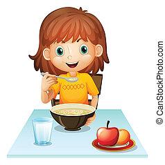 A little girl eating her breakfast