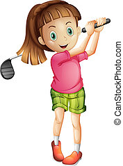 A cute little girl playing golf - Illustration of a cute...