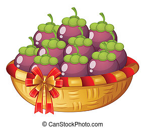 A basket of eggplants - Illustration of a basket of...