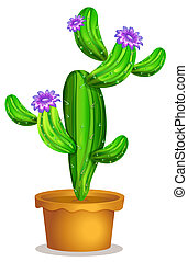 A cactus plant in a pot - Illustration of a cactus plant in...