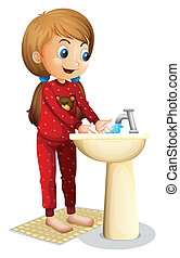 A smiling young lady washing her face - Illustration of a...