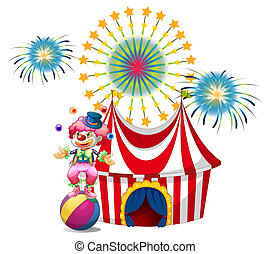A carnival with a clown juggling