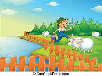 A boy feeding the sheeps - Illustration of a boy feeding the...