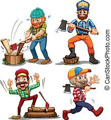 Hardworking woodmen - Illustration of the hardworking...