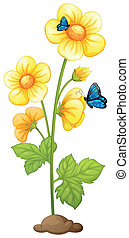 Fresh yellow flowers with butterflies - Illustration of the...