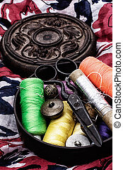 needlework - set of old seamstress for needlework