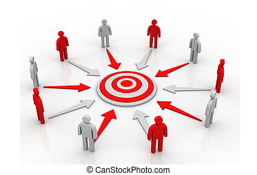 A group of business people in a circle aiming for the target
