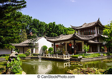 chinese pavilion - chinese style in water garden