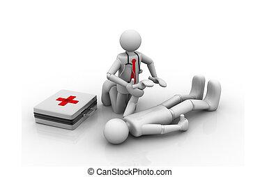 primeiro, ajuda, doutor, paciente