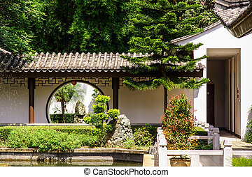 chinese garden gate - trypical style of chinese gate between...