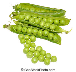 Green Peas And Pods - Freshly picked green garden peas in...
