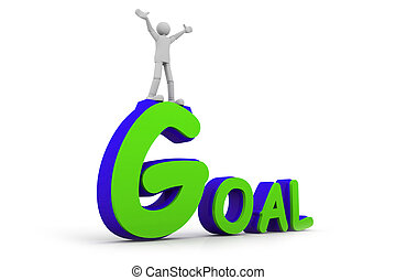 3d man standing with arms wide open on top of goal