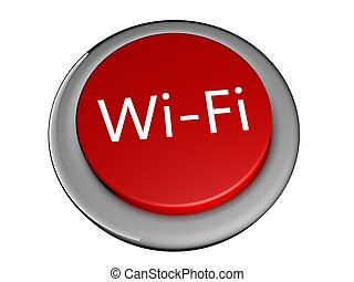 Wi-Fi - Red button with Wi-Fi text, 3d render