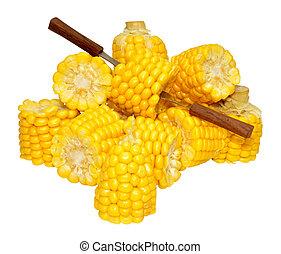 milho, ligado, a, cob, Porções