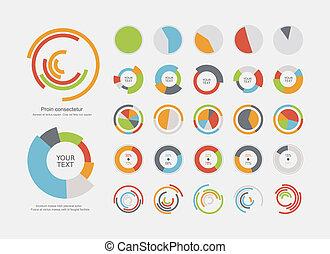 Infographic, elementos, Pastel, gráfico, Conjunto,...