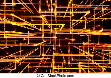 3D Abstract Yellow Glowing Lines as Background - 3D abstract...