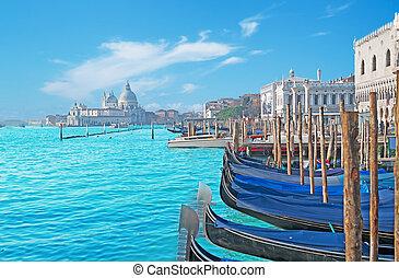 Gondolas in Venice - Gondolas by San Marco square in Venice,...