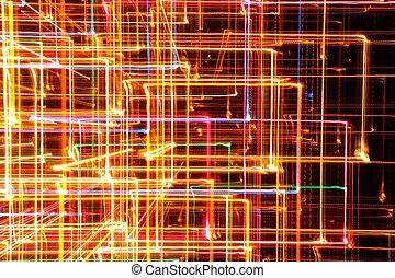 Abstract Bright Glowing Lines on Dark Background - Abstract...