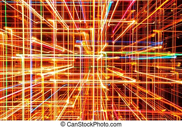 3D Abstract Bright Multicolored Glowing Lines as Background...