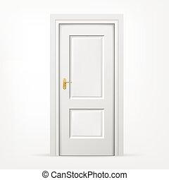 3, ajtó, fehér, háttér