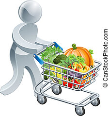 Person pushing trolley with vegetables - A person pushing a...